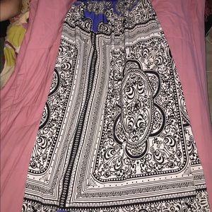 Floor length Empire waistline dress